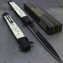 """12.5"""" TAC FORCE PEARL SPRING ASSISTED STILETTO FOLDING TACTI"""