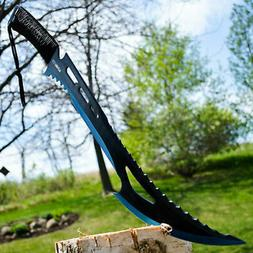 """24"""" TACTICAL SURVIVAL Fixed Blade ZOMBIE MACHETE Hunting Swo"""