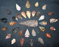 *** 32 pc lot Flint Arrowhead OH Collection Project Spear Po