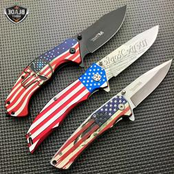 3PC M-Tech USA American Flag Spring Open Assisted Folding Po
