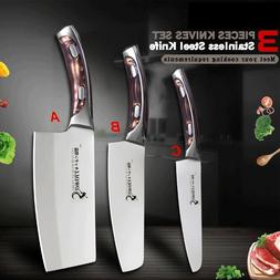 3Pcs Kitchen Knife Set Stainless Steel Utility Chef Chopping