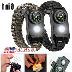 6IN1 Tactical Survival Kit Paracord Bracelet-Compass, Fire,