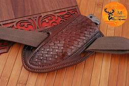 "7.5"" HAND MADE PURE COW LEATHER SHEATH FOR FIX BLADE & FOLDI"
