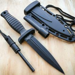 """7"""" Double Edge Military Tactical Hunting Dagger Neck Knife +"""
