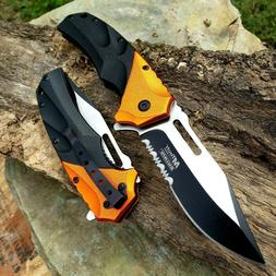 "8.5"" Tactical Folding Pocket Knife Spring Assisted Open Blac"