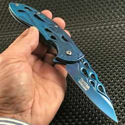 "8"" MTECH USA SPRING ASSISTED BLUE FLAMES TACTICAL FOLDING PO"