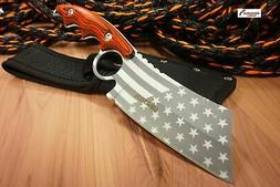 "8"" Wartech Silver USA Flag Fixed Blade Hunting Knife Patriot"