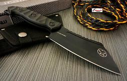 """9.5"""" Wartech Black Cleaver Fixed Blade Skull Hunting Knife F"""