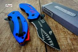Blue Wartech PWT267 Thumb Open Blade Spring Assisted Shark S