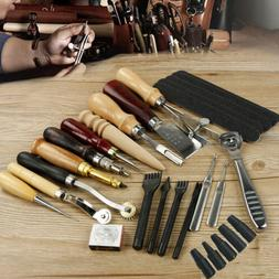 Pro Leather Craft Tools Punch Kit Stitching Carving Sewing W