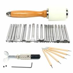 US Leather Working Tools Set Puncher Stamp Carving Craft + H