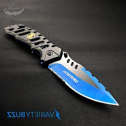 WARTECH TACTICAL ASSISTED OPENING KNIFE Blue Police Folding