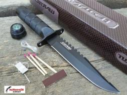 """Wartech 8.5"""" Black Fixed Blade Survival Knife With Fire Star"""