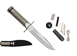 "Wartech 8.5"" Silver Fixed Blade Survival Knife With Fire Sta"