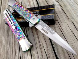 assisted open tactical rainbow milano skull folding