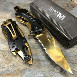 Ballistic Linerlock Assisted Open 3 1/4 Gold Finish Serrated