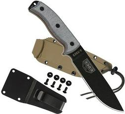 ESEE 6P Black Fixed Blade Knife with Desert Brown Molded Pol