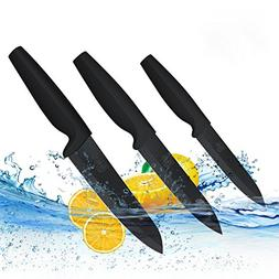 Ceramic Knife Set Black Professional 3 Pieces Sharp Knives w