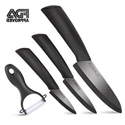Ceramic Knife Set 4-Pieces Mirror Gloss Knife Ceramic Set wi