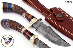 CUSTOM HAND FORGED DAMASCUS Steel Hunting Knife w/ STAG & Br