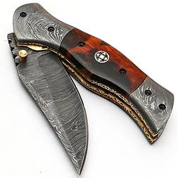 Custom Handmade Damascus Steel Hunting Folding Pocket Knife