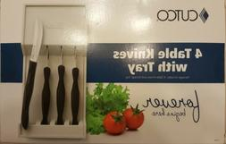 cutco- 4 piece table knives with tray