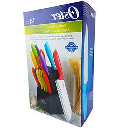 Oster 14pc Multicolor Cutlery Set with Wood Storage Block