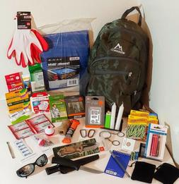 Emergency Survival Bag: Fishing kit, 2 knives, First Aid, Si