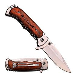 """TAC Force Free Engraving - 4"""" Closed Quality Wood Handle Kni"""