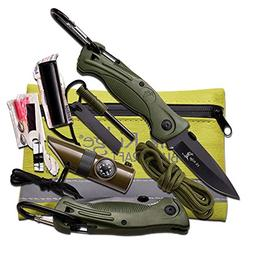 Elk Ridge ER-PK4G Survival Kit with Folding Knife, Green, 3-