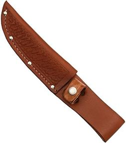 Sheath Fixed Knife Sheath, Brown basketweave leather,Fits up