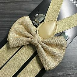 Gold Glitter Suspenders and Bow Tie Matching Set Wedding Tux