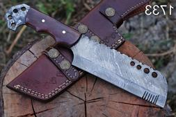 HAND FORGED DAMASCUS STEEL Hunting Knife Meat Chopper Meat C