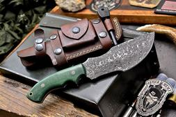 CFK Handmade Damascus Custom TRACKER Hunting Blade Knife & H