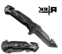 Xtreme-Tec Heavy Duty Black Spring Assist Folding Knife with