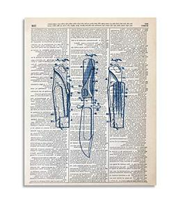 Hunting Knife Upcycled Vintage Dictionary Art Print 8x10 UNF