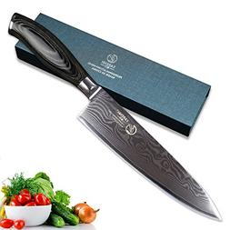 "YARENH Japanese Damascus Steel Chef's Knives 8"" with and Woo"