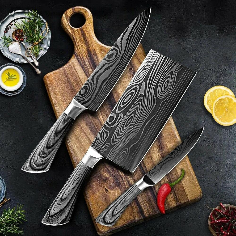 3pcs stainless steel kitchen knife set utility