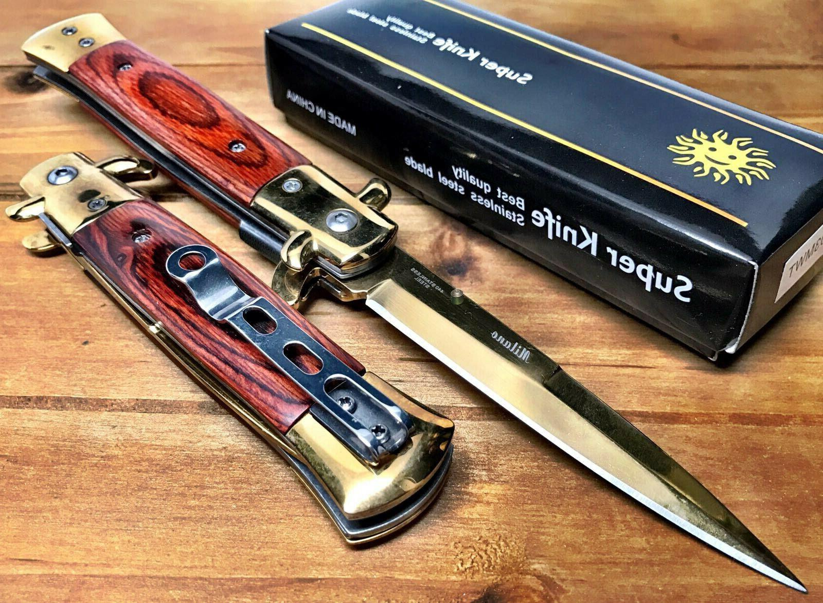 """8.75"""" Italian Damascus Assisted Spring Knife"""