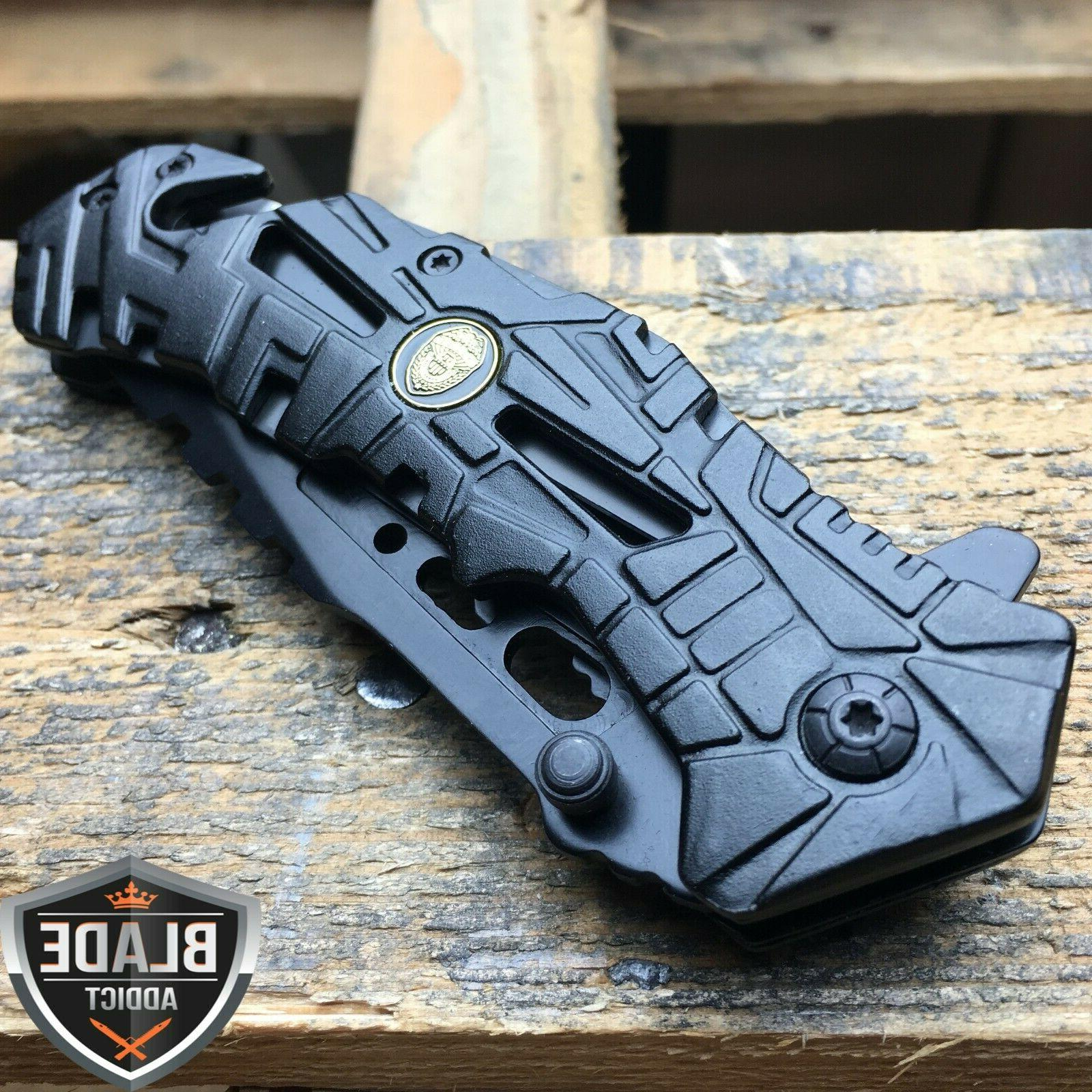 "8"" Black Open Folding Knife"