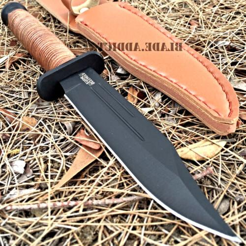 "9"" Tactical Combat Survival Fixed Blade Hunting Knife w/ She"