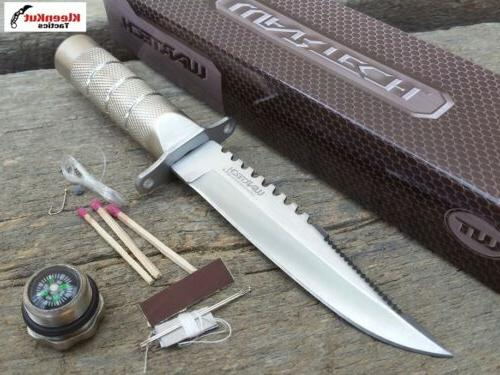 """Wartech 8.5"""" Silver Fixed Blade Survival Knife With Fire Sta"""