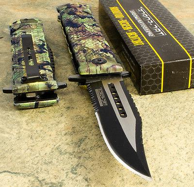 camo spring assisted bowie sawback blade folding