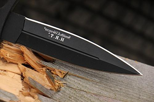 Smith & SWHRT9B 9in Stainless Fixed Blade Knife with Dagger and TPE Tactical and Carry
