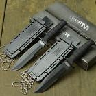 Lot Of 2 MTECH Tactical 440 Stainless Fixed Blade Neck Knive