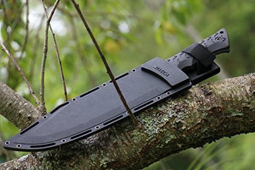 Schrade Leroy 16.5in High Carbon Tang Knife with 10.4in Blade and TPE for Outdoor Survival EDC