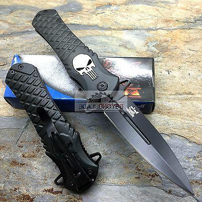 DARK BLADES Punisher Black Pocket Knife