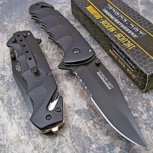 spring assisted open black tactical