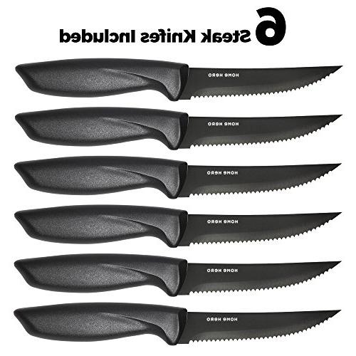 Stainless with Block Kitchen Knives Set Knife Set Sharpener, 6 Bonus Pizza & Stand - Set