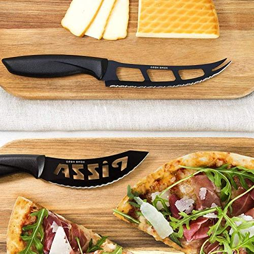 Stainless Steel with Block - Kitchen Sharpener, Steak Bonus Peeler Scissors Cheese Stand - Set